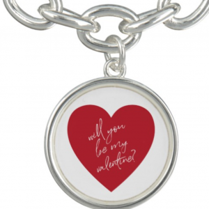 Valentine's Day Red Heart Charm Bracelet | Silver