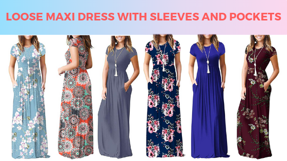 Loose Maxi Dress With Sleeves And Pockets