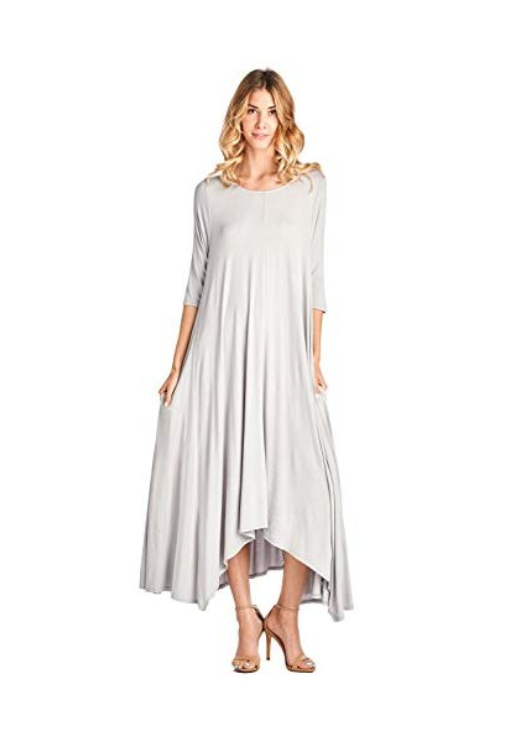 12 Ami Solid 3/4 Sleeve Pocket Loose Maxi Dress (S-3X)