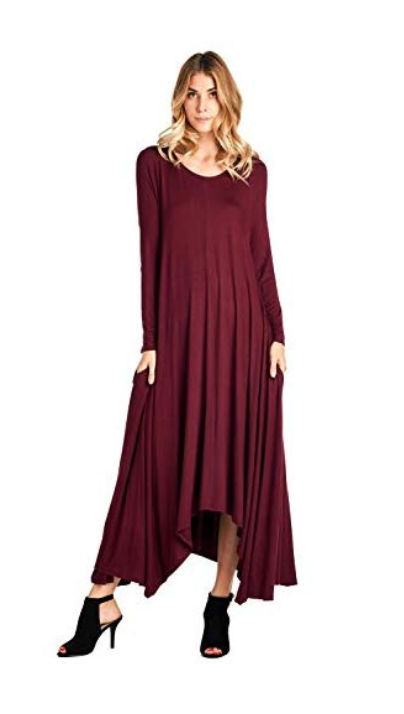 12 Ami Solid Long Sleeve Pocket Loose Maxi Dress (S-XXXL)