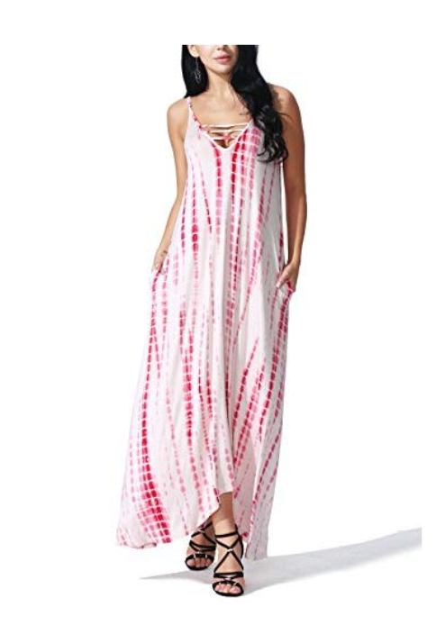 JayJay Women Loose Fit Tie Dye Print Maxi Long Dress with Pocket