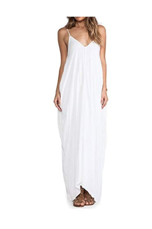 May&Maya Women's Low V-Neck and Low V-Back Maxi Dress