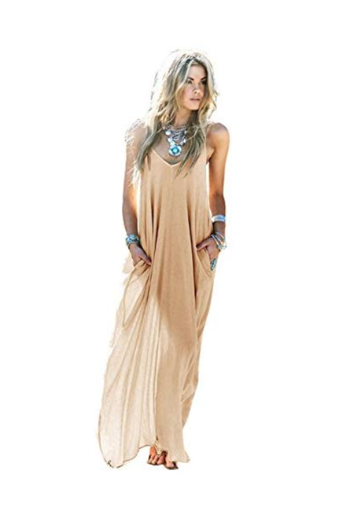 MIXMAX Women's Strappy Casual Loose Boho Chiffon Pocket Long Maxi Dress