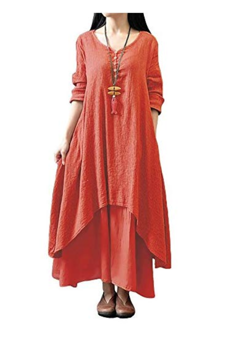 Romacci Women Boho Dress Casual Irregular Maxi Dresses Layer Vintage Loose Long Sleeve Linen Dress with Pockets,S-5XL