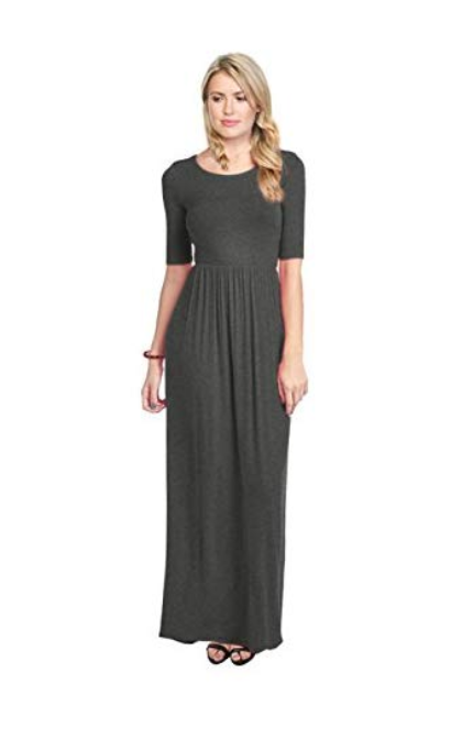 Simlu Women's Long Rayon Maxi Dress with Pockets, Scoop Neck and Empire Elastic Waist