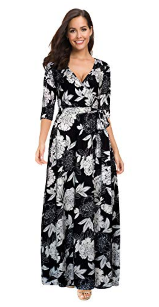 Afibi Womens Bohemian 3/4 Sleeve Faux Wrap Maxi Dress with Belt