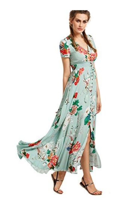 Milumia Women Floral Print Button Up Split Flowy Party Maxi Dress