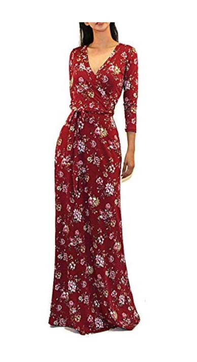 Vivicastle Women's USA Printed V-Neck 3/4 Sleeve Faux Wrap Waist Tie Long Maxi Dress