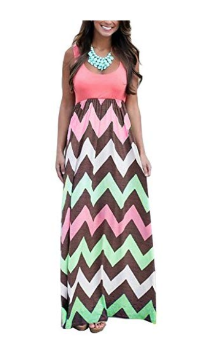 Demetory Women`s Boho Summer Empire Waist Long Flowy Beach Maxi Party Dress