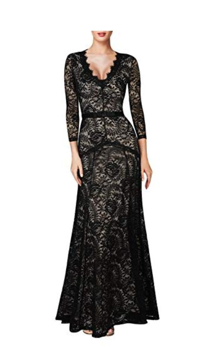 Miusol Women's Floral Lace 2/3 Sleeves Long Bridesmaid Maxi Dress
