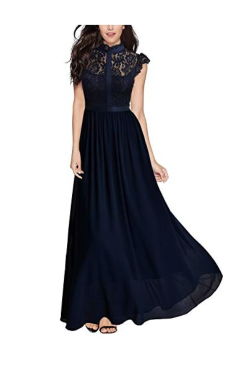 Miusol Women's Formal Floral Lace Cap Sleeve Evening Party Maxi Dress