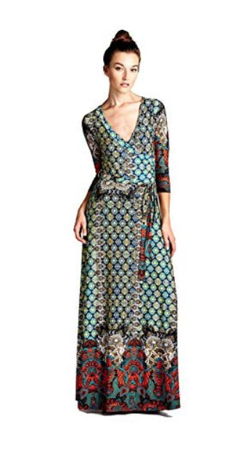 On Trend Women's Paris Bohemian V-Neck Printed 3/4 Sleeve Faux Wrap Long Maxi Resort Dress