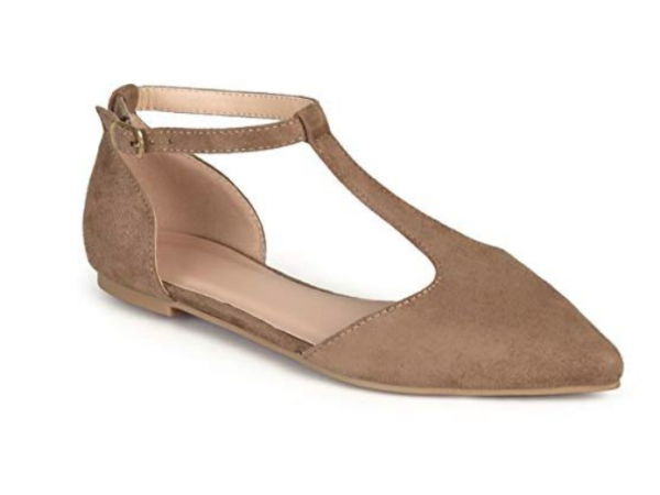 Journee Collection Womens Faux Suede T-Strap Flats