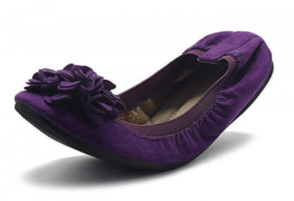Ollio Women's Shoes Faux Suede Decorative Flower Slip On Comfort Light Ballet Flat